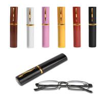 ユニセックスステンレス鋼フレーム樹脂読み取りメガネ1.00-4.00チューブケースエレガントでファッショナブルなデザイン