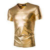 Al por mayor-Mens Trend Night Club revestido metálico oro plata camisetas elegante brillante mangas cortas camisetas camisetas para hombres
