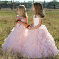 Pink Ruffles Floor Length Flower Girl Dresses Top Lace Jewel...