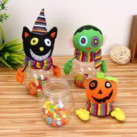 Cadeau Enfants Pot De Bonbons Transparent Bouteille En Plastique Halloween Bande Dessinée Alimentaire Canettes Event Party Supplies Ménage Enfants Can Bin Décor Boîte
