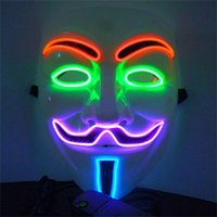 Halloween Hot Sale 2016 Novo Flash El Fio Elétrico Led Dj Máscara Facial Cosplay Moda Dance Party Máscara para a Máscara de Vingança