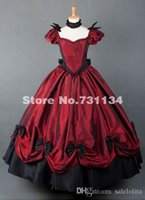 2015 Personalizzato Red Women Rinascimentale abito da ballo vittoriano Sexy Marie Antoinette abiti vittoriani periodo Sourthern Belle Party Dress