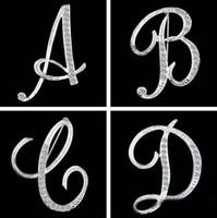 حار الأزياء 26 الإنجليزية إلكتروني بروش دبابيس تألق كريستال الفضة مطلي الأبجدية بروش النساء الرجال غرامة مجوهرات حبيب هدية