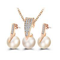 Мода имитация Перл ювелирные наборы для новобрачных позолоченные кристаллы кулон ожерелье наборы женщин свадьба воды серьги 2016 SET002