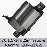 """Максимальный привод нагрузки скорости 100n 10kgs 40mm/s миниый линейный с dc 12v и 24v хода 1"""" / 25mm"""