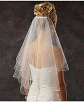 Ucuz Gelin Veils 2 Tier Spark Tarak ile Gelin İnci Düğün Peçe