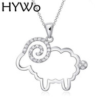 Hywo (zonder ketting) mozaïek schapen holle 925 zilveren kristallen hanger ketting hypoallergeen sieraden cadeau voor vrouwen groothandel