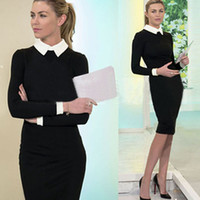 Womens Black Slim Bodycon Work Office Cocktail Party Evening...