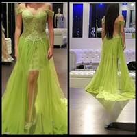 Mint Green Prom Dress 2016 Sweetheart Appliqued Side Split Tulle Backless Off the Shoulder Pizzo Abiti da sera Abiti da sera