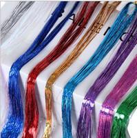 Bunt Metallic Glitter Tinsel Laser-Faser-Haar Perücke Haarverlängerung Zubehör Haarteil Clip in Cosplay Perücke Partei Ereignis Festliche Requisiten