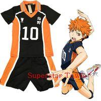 Toptan-Haikyuu! Sıcak Karasuno Lisesi Üniforma Jersey Voleybol Yeni Cosplay Kostüm Numarası tişört ve pantolon