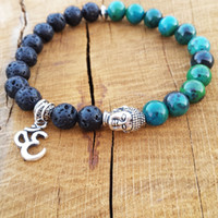 SN1097 Mens Beaded Tierracast Buddha Yoga Bracelet Ohm Charm...