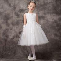 Elegant Blanc Perles Satin Tulle Filles Robes De Mariée Grandes Arc Fete Robes De Fete D'anniversaire Bebe Fille De Luxe Robe 2-11Y