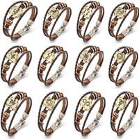أساور للجنسين الشرير الصخرة الرجعية bracelete 12 الأبراج النحاس البرونزية النساء الرجال مزين جلدية الحبل هدايا عيد WX-B08