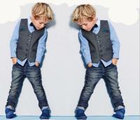 New Spring Autumn Baby Boys 3pcs Abbigliamento Abbigliamento per bambini Gentleman Camicia a maniche lunghe + Gilet + Jeans Pants Bambini Abiti per bambini Set per bambini