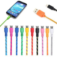 1M 2M 3M Nylon Micro USB Fiber Braided Data Charging Cable F...