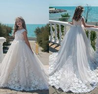 White Flower Girl Dress 3D Floral Applique Jewel Neck Sleeve...