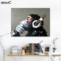 ゴリラ音楽を聴く - キャンバスの100%手作り油絵面白い漫画動物の壁に囲まれた寝室の装飾