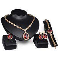 높은 품질 눈물 스타일 신부 보석 네 조각 / 설정 합금 목걸이 귀걸이 반지와 팔찌 웨딩 핫 판매
