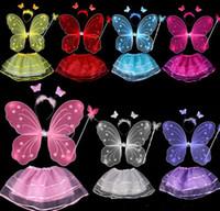 1000PCS Fedex freie einzelne Schichten Feenhafte Flügel stellten Flügel / Stirnband / Stab-Schmetterlings-Flügel mit Ballettröckchen-Kleid-Weihnachtsgeschenk ein