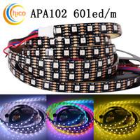 luci di striscia a led APA102 60led / m rgb striscia led SMD 5050 striscia led 5m IP67 impermeabile a colori effetti variabili PCB nero DC5V