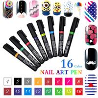 Nova Marca 3D Nail Art Pen 16 Cores Charme das Mulheres Delicado Bonito DIY Nail Art Nail Polonês Caneta Gel UV Manicure Ferramenta Frete Grátis