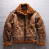 Jaqueta de couro de ovelha AVIREXFLY B3 força aérea terno de vôo quente forro de lã de cordeiro com lapela pescoço