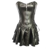Toptan Overbust kadın Korse Steampunk seksi siyah deri Ile Corselet Bel Eğitim Gotik Büstiyer fermuar Vücut Şekillendiriciler Lingerie