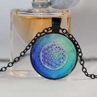 Fashion Blue Flower of life Cabochon Glass Tibet Silver Chai...