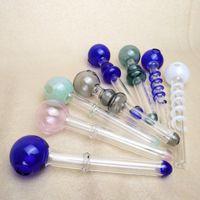 Daber tubos de vidro queimadores a óleo Pipes Balancer Water Pipe Smoking Pipes Mão Funda Cabeça Redonda cor bobina
