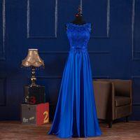 Scoop Neck Koronki Satynowe Suknie Wieczorowe Długie Royal Blue Burgundia 2020 Długość podłogi Druhna Dress Abendkleider