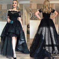 Zarif Siyah Tam Dantel Yüksek Düşük Balo Elbise Kapalı Omuz Kısa Kollu Abiye giyim Yüksek Kalite Moda Parti Kıyafeti Custom Made