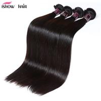 IsHow sedosa feixes brasileiros 4 pçs / lote cabelo humano tecida peruana Virgem Wews por atacado para mulheres todas as idades 8-28 polegadas jet black