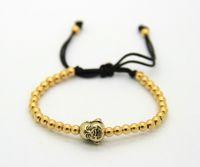2016 4mm Kupfer Perlen Weben Gold und Silber Farbe Lachender Buddha Kopf Schmuck Flechten Makramee Armbänder