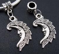 100 PCS Tibétain Argent lune Charmes Pendentif Dangle Perles Fit Européen Bracele t 38mm