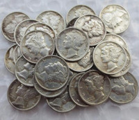 Toptan Çoğaltma Cıva Kafa 1916-1945 Bir Dizi Dimes Karışık Tarih Gümüş Kaplama Imalat Kopya Paralar