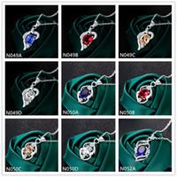 Alta série moda feminina gemstone 925 colar de prata pingente 10 peças muito misturados, barato sterling prata pingente colares EMN33