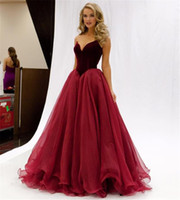 Strapless Elegant Velvet And Tulle Burgundy Prom Dresses V- w...