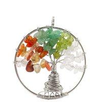 12 Цветов Дерево жизни Натуральное Кристалл Камень Ожерелье Кулон Специальный Корень Дизайн Радуга Цветные Подвески Подвеска AXS-A243