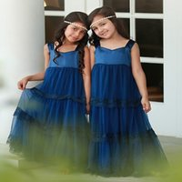 Королевский синий милый драгоценный камень шеи девушки цветка платья богемной свадьба носит для детей длина лодыжки складки девушки день рождения первое причастие