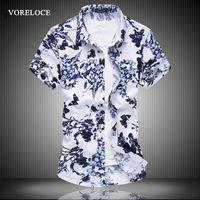 новые мужские повседневная с коротким рукавом рубашки цветочные рубашки большой ярдов мода бизнес бутик мужская 2016 листинг синий / коричневый