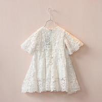 Çocuk dantel prenses Elbise yaz yeni kızlar dantel hollow Tığ kısa kollu elbise çocuklar beyaz parti elbise çocuk giyim A7608