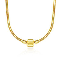 45см 4 стилей 925 Посеребренного Ожерелье цепи змейки с застежкой Fit Европейского бисером Пандор ожерельем с логотипом DIY