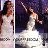 Correias Sereia Vestidos de Casamento 2019 Babados Flouncing Frisado Cristais Deslumbrantes Vestidos de Casamento Sexy Body-con vestido novia