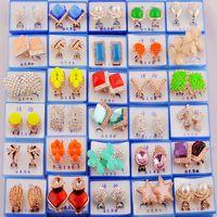 Mistura aleatória estilo 30 pares / lote com caixa de ouro gem moda brincos brincos atacado nova moda jóias de alta qualidade hj004