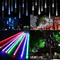 30CM 50CM 8 أنبوب LED النيزك دش المطر أنابيب ضوء جليد 110V 220V الاتحاد الأوروبي الولايات المتحدة التوصيل عطلة عيد الميلاد ضوء سلسلة قطرة المطر مصباح + محول الطاقة