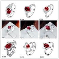 Çiçek Kırmızı Taş 925 Gümüş Yüzük GTGR3, Yüksek Dereceli Gümüş Kaplama Yüzükler 10 Parça Karışık Stil