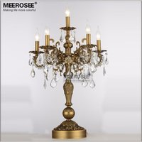 French Vintage Crystal Table lamp Luxury Bronze Color Desk l...