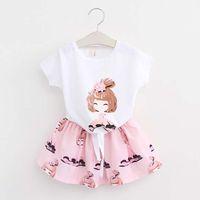 Корееские девочки платье наборы детская одежда детская одежда летняя с коротким рукавом футболка для девочек юбки дети набор костюмов C23819