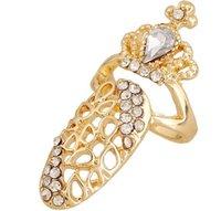 Bague à ongles à la mode avec 4 styles, couronne, fleur, anneaux à ongles fins à breloques pour filles / dames en or, argent